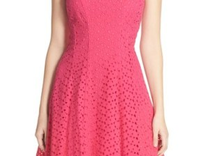 Maggy London Cotton Eyelet Fit & Flare Dress (Regular & Petite) Berry : Rose Pink eyelet dresses for spring 2016