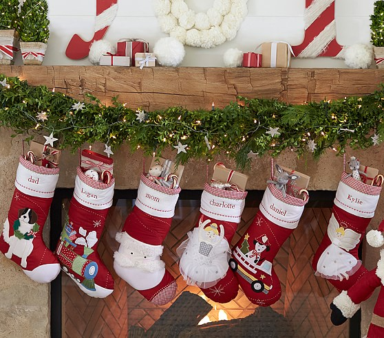 White Quilted Christmas Stockings
