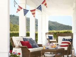AMERICANA BURLAP PARTY BANNER Pottery Barn 4th of july sale