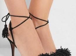 AQUAZZURA Wild Thing fringed suede sandals black