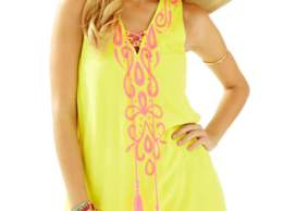 Lilly Pulitzer Bethany Embroidered Swing Dress Sweet Tart Yellow Pom Pom Tassels
