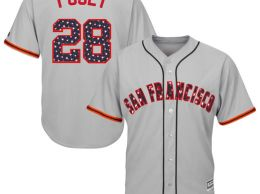 Majestic Buster Posey San Francisco Giants Gray Stars & Stripes 4th of July Cool Base Player Jersey