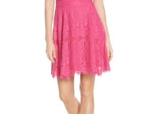 Adelyn Rae Illusion Yoke Lace Fit & Flare Dress Hot Pink fit and flare dresses summer wedding guest