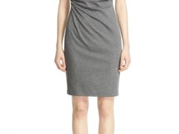 Lafayette 148 New York Drape Neck Ponte Dress (Regular & Petite) Nickel Nordstrom anniversary sale women dresses