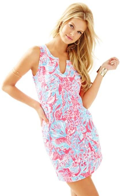 Lilly Pulitzer Estrada Printed Knit Shift Dress Pink Sun Ray Summer Siren Resize  July Presents Event Fashion