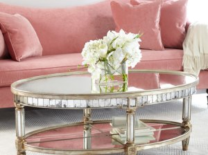 John-Richard Collection Keene Mirrored Coffee Table Antique Mirror mirrored coffee tables
