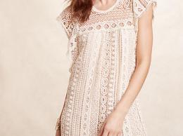 Maeve Crochet Tunic Dress Sand Anthropologie extra 25% off sale