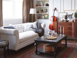 """Neville 87"""" Chesterfield, Ivory Linen One Kings Lane furniture warehouse sale candace anderson"""