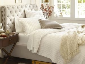 candace rose Pottery Barn CHESTERFIELD UPHOLSTERED BED & HEADBOARD pottery barn best selling upholstered beds sale candie anderson