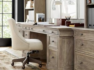 Pottery Barn LIVINGSTON LARGE DESK Gray Wash pottery barn home office sale 20% off