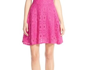 BB Dakota 'Renley' Lace Fit & Flare Dress (Nordstrom Exclusive) Hula Pink nordstrom summer clearance Sale