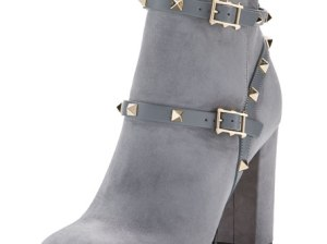 Valentino Rockstud Suede 100mm Ankle Boot Light Gray ankle boots fall 2016