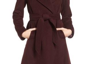 DIANE VON FURSTENBERG Wool Blend Wrap Coat Bordeaux wrap coats fall 2016