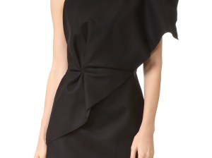 Jacquemus One Shoulder Ruffle Dress Black one shoulder dresses fall wedding guest