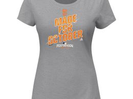 Majestic San Francisco Giants Women's Heathered Gray 2016 Postseason Wild Card Locker Room T-Shirt san francisco giants made for october postseason