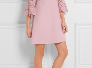 VALENTINO Bell-sleeve corded lace and crepe mini dress Antique Rose fit and flare dresses fall wedding guest season
