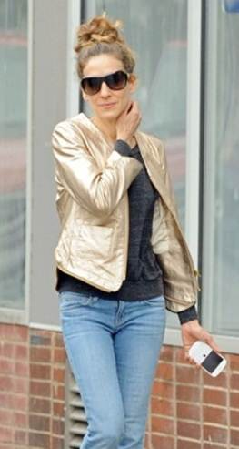 messagepart6 Celeb Fashion Find: Actress Sarah Jessica Parker in Gold Metallic Blazer