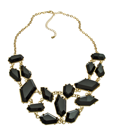 Blu Bijoux 08022012 011 black crystal gold bib necklace L Sale Alert! Max&Chloe Jewelry Labor Day Sale Favorites! 