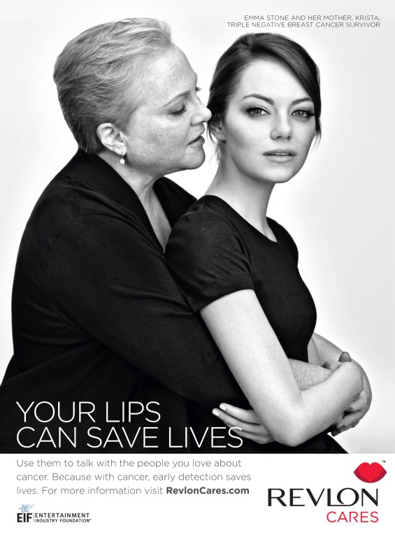 ViewMedia 12 753x1024 Emma Stone and Mother Star in Revlons First PSA Encouraging Women to Use Your Lips To Save Lives