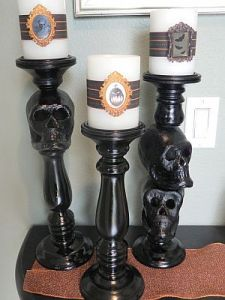 Halloween skull candle holder tutorial candle making for Alternative candle holders