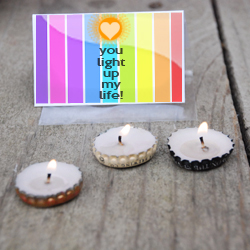 Bottle Cap Candle Valentine @ Craft Gossip