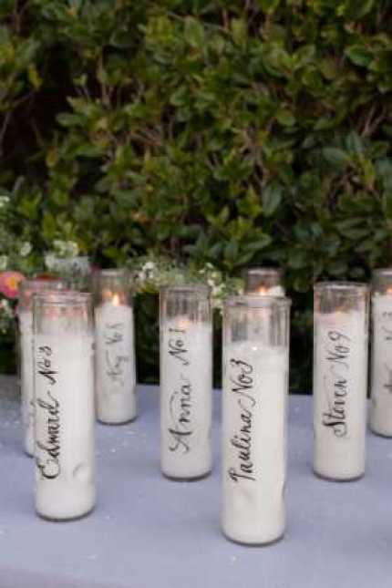 Calligraphy Candle Place Cards