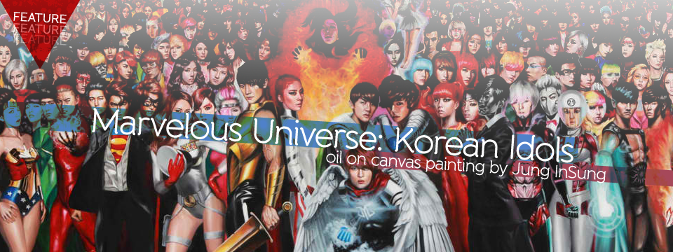 "Spot your favorite KPop Idol in this oil on canvas painting ""Marvelous Universe: Korean Idols"" by InSung Jung!"