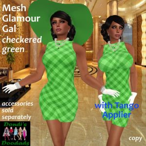 DD Mesh Glamour Gal Dress Checkered Green