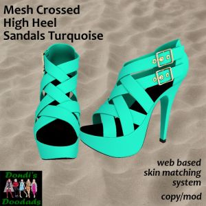 DD Mesh Crossed High Heel Sandals Turquoise