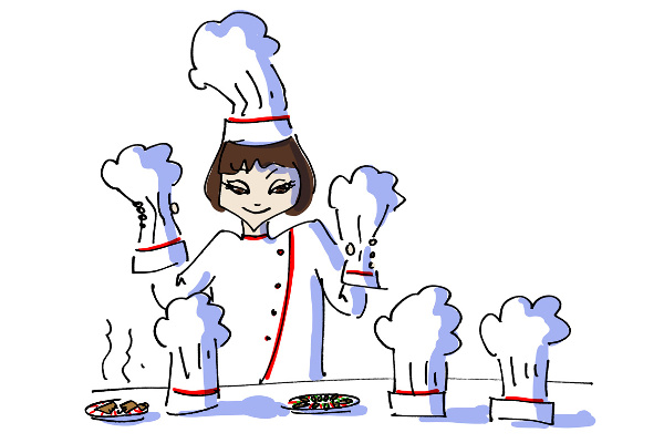 Girl chef cooking at Antiochia