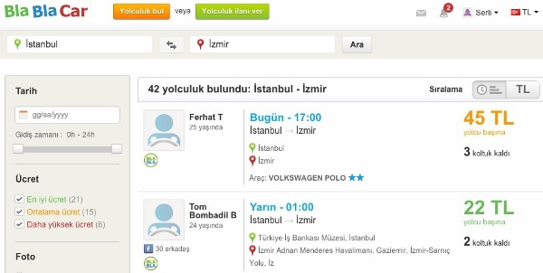 BlaBlaCar screenshot Turkish