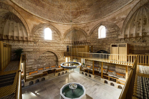 The beautiful inside of historic Kilic Ali Pasa Hamam