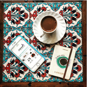 A Canim Istanbul newsletter and a cup of Turkish coffee at Çorlulu Ali Paşa Medresesi