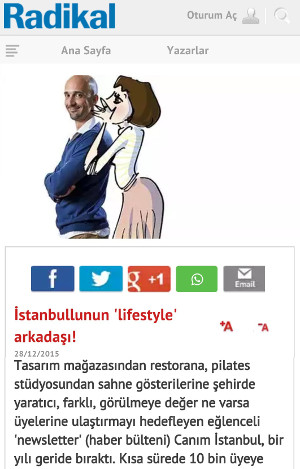 Joseph Donyo and his Canim Istanbul illustrated girl character speak with Radikal