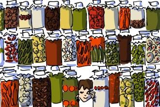 Girl hiding behind pickles jars at Asri Tursucu store in Cukurcuma