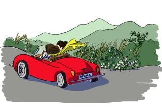 Girls driving away in a Zipcar vehicle