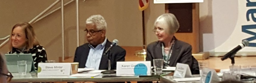 From left: Cuyahoga Arts and Culture trustees Charna Sherman and Steven Minter, and executive director and CEO Karen Gahl-Mills.