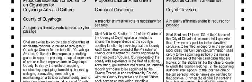 Excerpt from the ballot from the November 3, 2015 election in Cuyahoga County