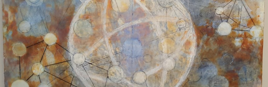 Interior Galaxy, encaustic and oil stick on panel by Susan Squires