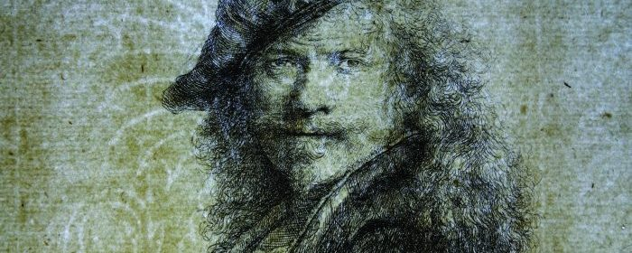 A transmitted light photograph shows the Basilisk watermark embedded in the paper used for Rembrandt's 1639 etching, Self-Portrait Leaning on a Stone Sill. Collection of the Yale University Art Gallery.