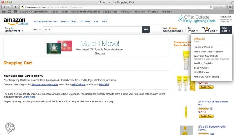 tela Amazon comprar na wish list1