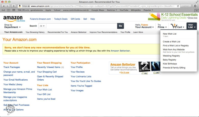 tela Amazon criar wish