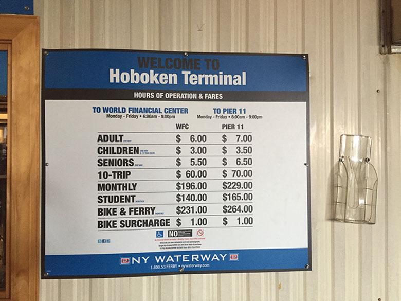 Preços do ferry de New Jersey para Manhattan