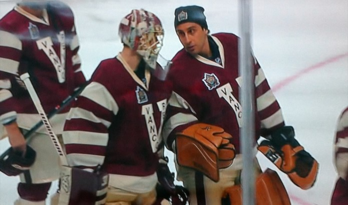 Eddie Lack and Roberto Luongo after the 2nd period