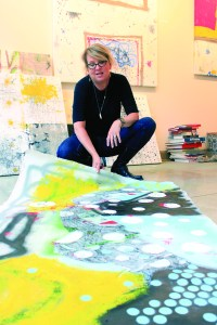 """Deb Lawrence discusses her recent work, """"Ready or Not: Mount Kusama,"""" the first piece in a series intended to bring greater attention to female artists, at her Cleveland studio."""