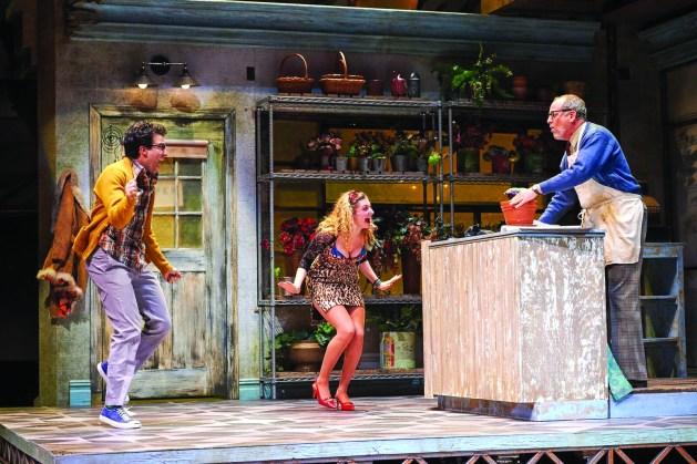 "Ari Butler, from left, as Seymour, Lauren Molina as Audrey and Larry Cahn as Mr. Mushnik in ""Little Shop of Horrors."" 