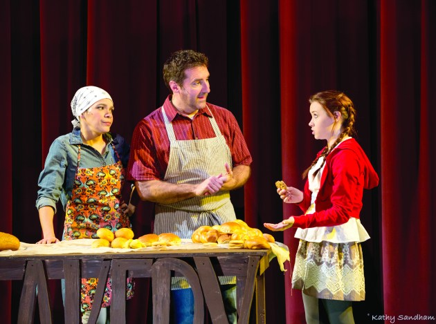 Trinidad Snider, from left, as the baker's wife, Brian Altman as the baker, and Jade McGee as Little Red Riding Hood. PHOTO | Kathy Sandham