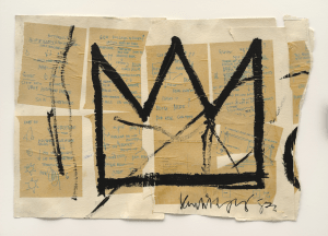 6. EL 135.58 Untitled (Crown), 1982. Jean-Michel Basquiat (American, 1960–1988). Acrylic, ink, and paper collage on paper; 20 x 29 in. Private collection, courtesy of Lio Malca. Copyright © Estate of Jean-Michel Basquiat, all rights reserved. Licensed by Artestar, New York. Photo: Mark-Woods.com