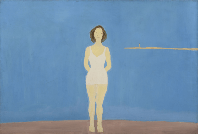 """""""Bather,"""" 1959. Alex Katz (American, b. 1927). Oil on linen; 121.9 x 182.9 cm. Colby College Museum of Art, Museum purchase made possible by Peter and Paula Lunder through the Lunder Foundation, Michael Gordon '66, Barbara and Theodore Alfond through the Acorn Foundation, and the Jere Abbott Acquisitions Fund, 2016.189. Art © Alex Katz / Licensed by VAGA, New York, NY."""