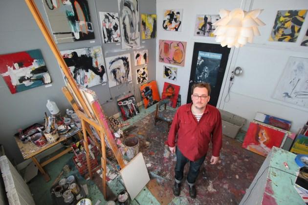 Justin Brennan in his studio at 78th Street Studios in Cleveland's Detroit-Shoreway neighborhood.
